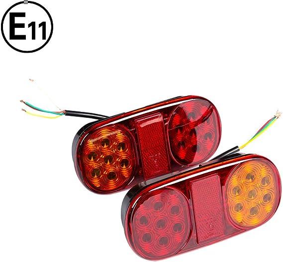 Convient Pour RV//Camions//Caravanes//Voiture//Feux Arri/ère De Remorque ETUKER Feu LED Remorque Ampoule de 20 LED 12V LED Feux Arriere Remorque De Lumi/ère Avec Plaque Dimmatriculation Lampe
