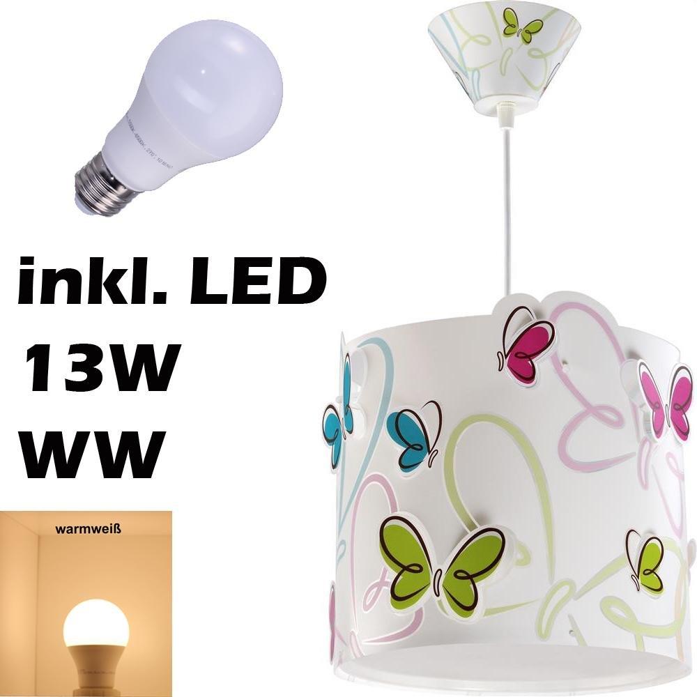 LED Kinderlampe Schmetterlinge Schmetterling Schmeterlinge Butterfly 62142 Warmwei/ß 1300lm M/ädchen Kinderzimmerlampe Deckenlampe