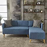 Andresen Mid Century Modern Muted Blue Fabric Chaise Sectional