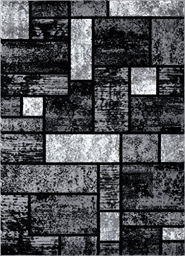 (Persian-Rugs T1007 Abstract Modern Area Rug Carpet, 7'10 X 10'2, Gray Black White)
