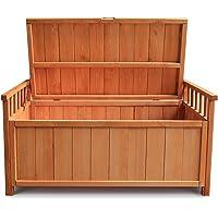 Waterproof Outdoor Storage Box Wooden Indoor Garden Deck Storage Bench Furniture,Light Brown