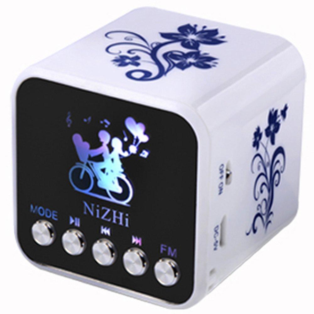 iwish TT032B Portable Mini Digital Speaker USB Flash Drive Micro SD/TF Card Music MP3 Player FM Radio Blue and white porcelain plastic
