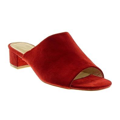 Angkorly Damen Schuhe Sandalen Mule   Slip on   Peep Toe Blockabsatz High Heel 4 cm