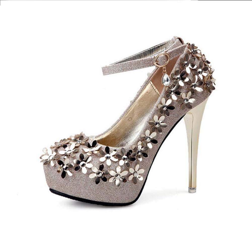 Mamrar Frauen Pump Ankle Straps High Heels Hochzeitskleiderschuhe 12cm Stiletto Rhinestone Floral OL Hofschuhe Eu Größe 34-39
