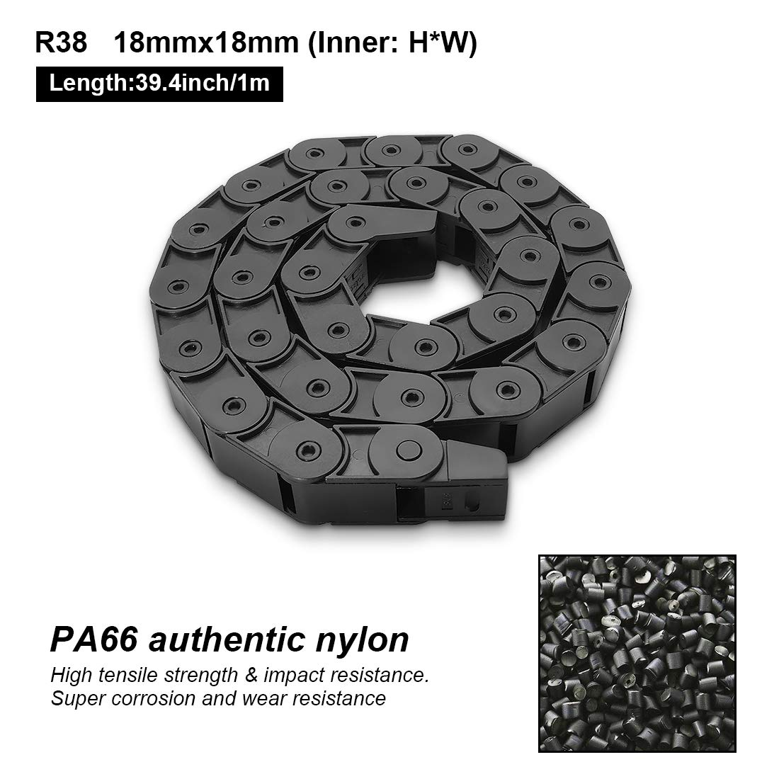 Black Plastic Cable Wire Carrier Drag Chain 1M Length for CNC Inner Side openable with End Connectors Semi Enclosed Type LMioEtool R38 18mm x 50mm Inner H x Inner W