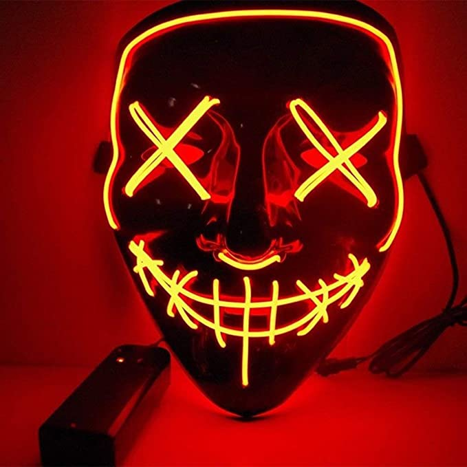 Image ofKaliwa LED Máscaras Halloween, Halloween Mascaras, Craneo Esqueleto Mascaras, para Navidad /Halloween /Cosplay /Grimace Festival /Fiesta Show /Mascarada, Alimentado por batería (no Incluido) (Rojo)