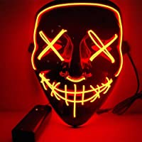 Kaliwa Masque LED Halloween, Masques La Purge élection en Lumière LED Masque pour Halloween Masque American Nightmare Festival Cosplay Costume Décorations de Fête, Alimenté par Batterie (Rouge)