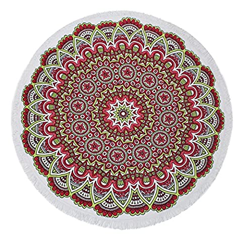 QinYing Round Terry Cotton Blanket Thick Mat Decors Picnic Tassels Pool Beach Towels #14 - South Beach Wine