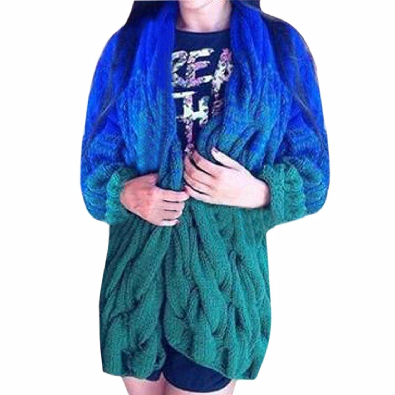 Women Long Sleeve Twist Coarse Casual Cardigan Coat Knitted Sweater Winter