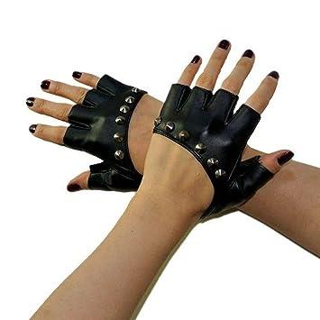 0d51bc03a8d721 Sexy Nieten Stift Fingerlose Handschuhe PU Leder Auftritte Handschuhe Half  Finger Handschuhe für Frauen