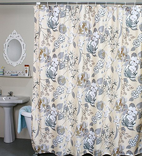 ufriday waterproof polyester shower curtain chinese floral fabric with plastic hooks vintage style curtain for bathroom decor ink and wash