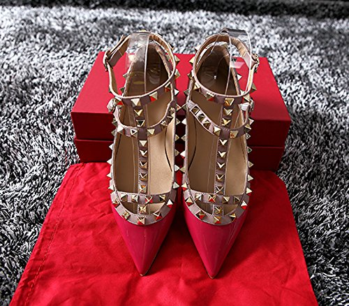 Chris-T Womens Flats Rivets Pearl Studded T-Strap Ankle Buckle Shoes Red Patent dmx2X