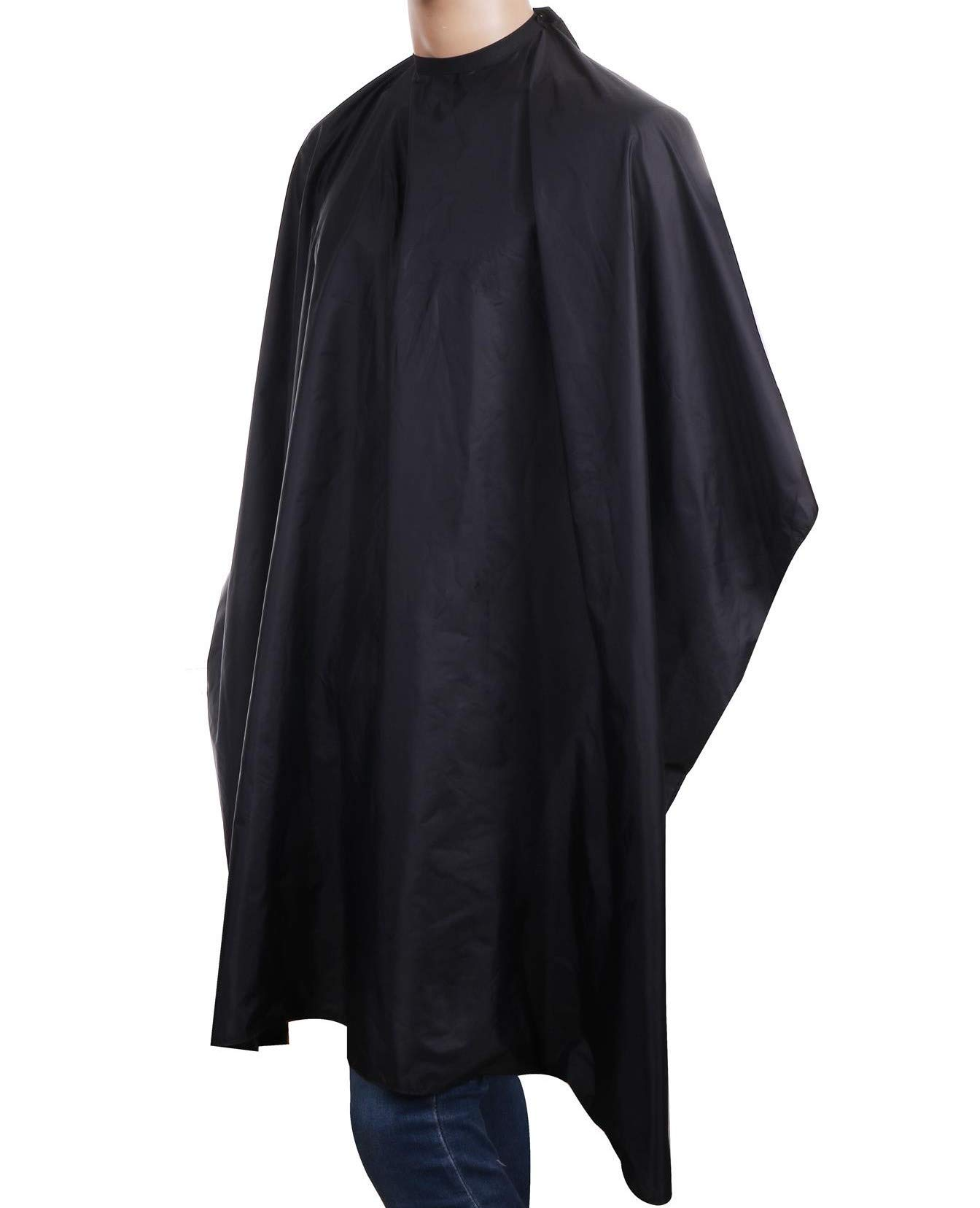 Salon Essentials Waterproof Professional Barber Cape With Snap Closure 100% Nylon Comfortable Material Black - 50'' x 60'' (1 Pack) by Salon Essentials