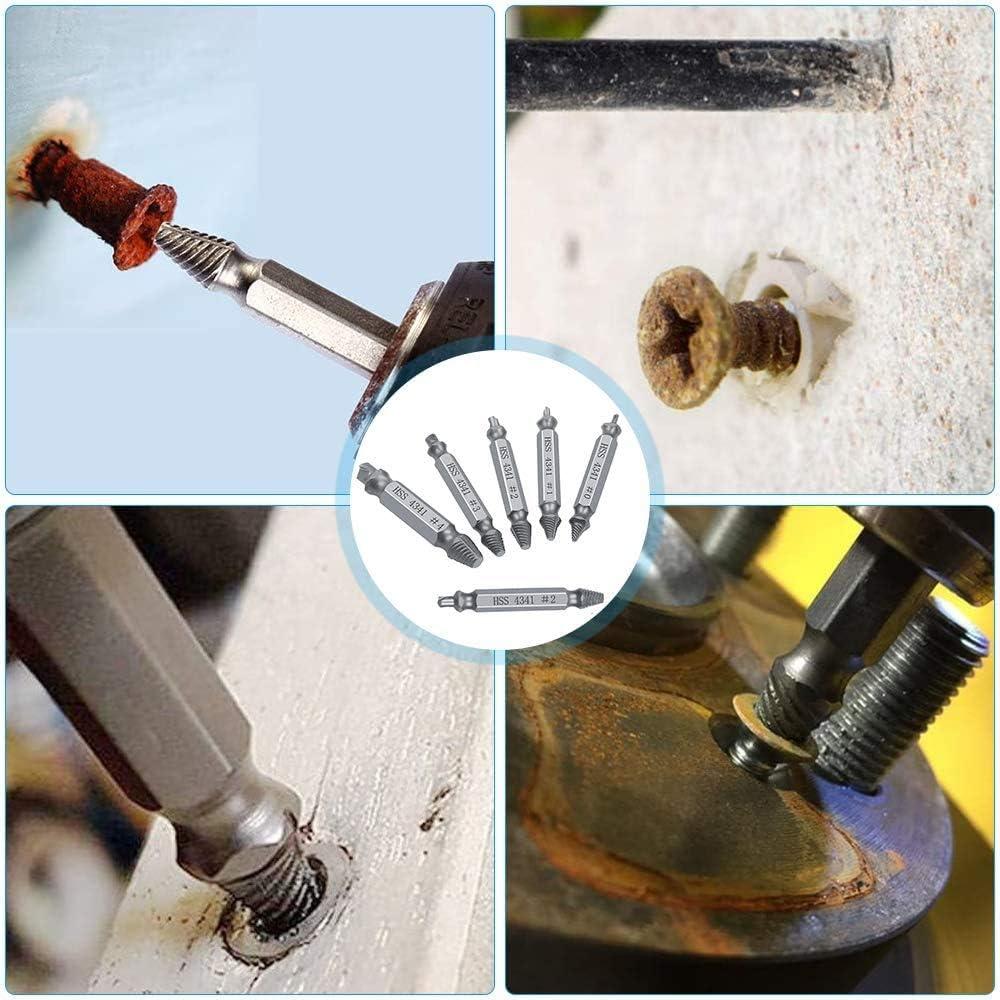 Broken Bolt Remover Set for Removing Stripped//Broken Screws Damaged Stripped Screw Extractor Kit ECHG 6Pcs Screw Extractor