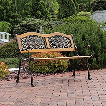 Superbe Sunnydaze 2 Person Ivy Crossweave Cast Iron Wood Patio Bench, 49 Inch