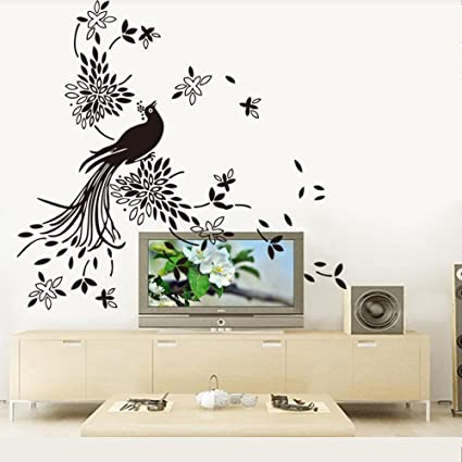 Aiwall 9252 Art Picture With Peacock Wall Stickers Chinese Painting Wall Decals For Living Room Diy Home Decorations
