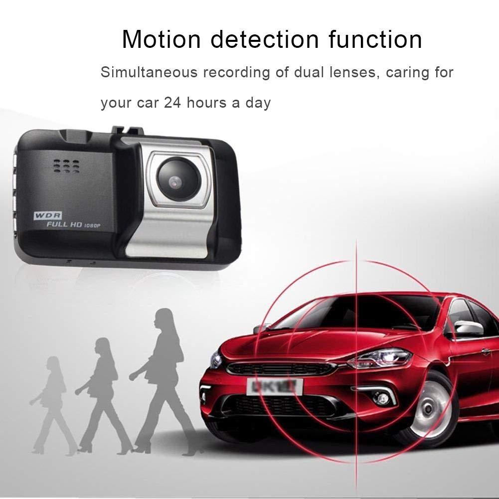 Tingtin 3 Pulgadas de Doble Lente de la c/ámara HD 1080P DVR del Coche DVR Dashboard Camera Video Recorder con visi/ón Nocturna grabaci/ón en Bucle detecci/ón de Movimiento y Monitor de estacionamiento