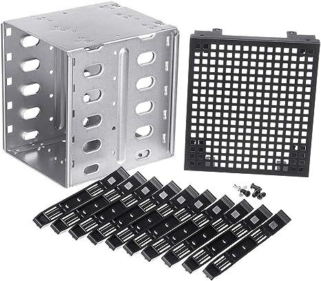 Bandeja de Disco Duro SATA SAS HDD de 5,25 a 5 x 3,5 Pulgadas con Espacio de Ventilador Siver + Black: Amazon.es: Informática