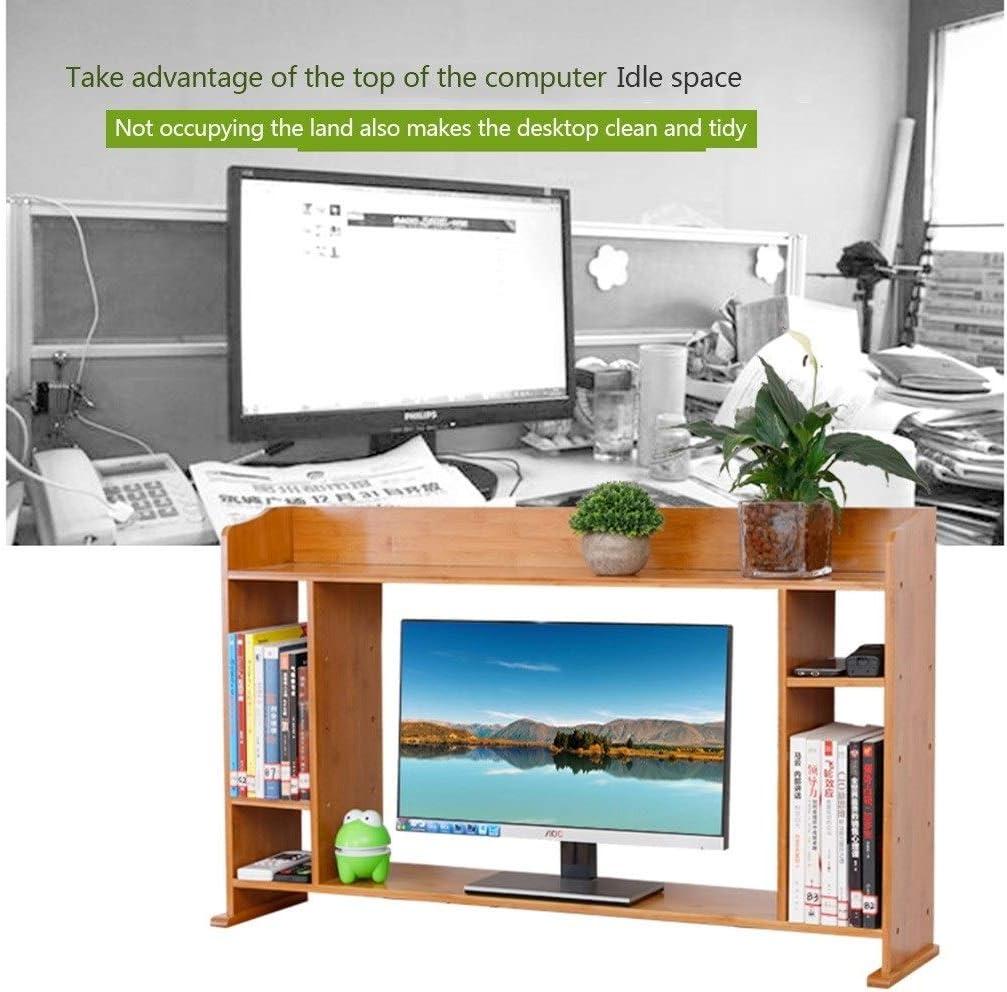 Desktop Shelf Desk Storage Desk Organisers Bamboo Office Bookshelf Desk Storage Rack Computer Stand Storage Shelf Color : Wood Color, Size : 1001965cm