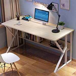 Home Office Desk 47 inch - Modern Desktop Computer Desk Gaming PC Laptop Desk Work Table, Home Bedroom Furniture Workstation Students Study Writing Desk Wood Table Industrial Metal Base Works (White)