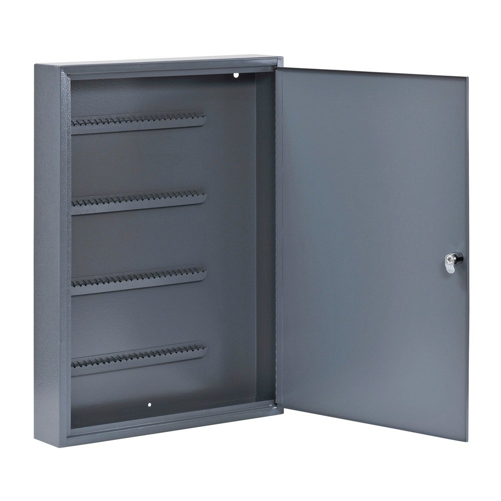Buddy Products Locking 100-Key Steel Cabinet, 3 x 22 x 16 Inches, Grey (1100-1)