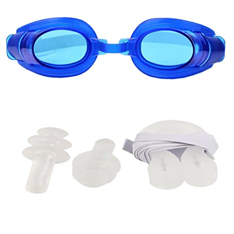 015ba0f0089 Buy Futaba Water Sports Swimming Goggles Set with 2 Earplugs   1 Nose Clip  - Blue Online at Low Prices in India - Amazon.in