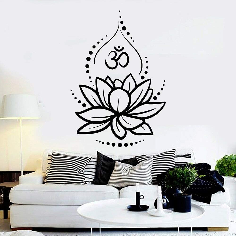 ASFGA Hermosa calcomanía de Pared de Loto Yoga Mandala Vinilo Adhesivo patrón marroquí Boho Dormitorio decoración Ventana de Coche calcomanía Dormitorio Sala de Yoga 84x119 cm