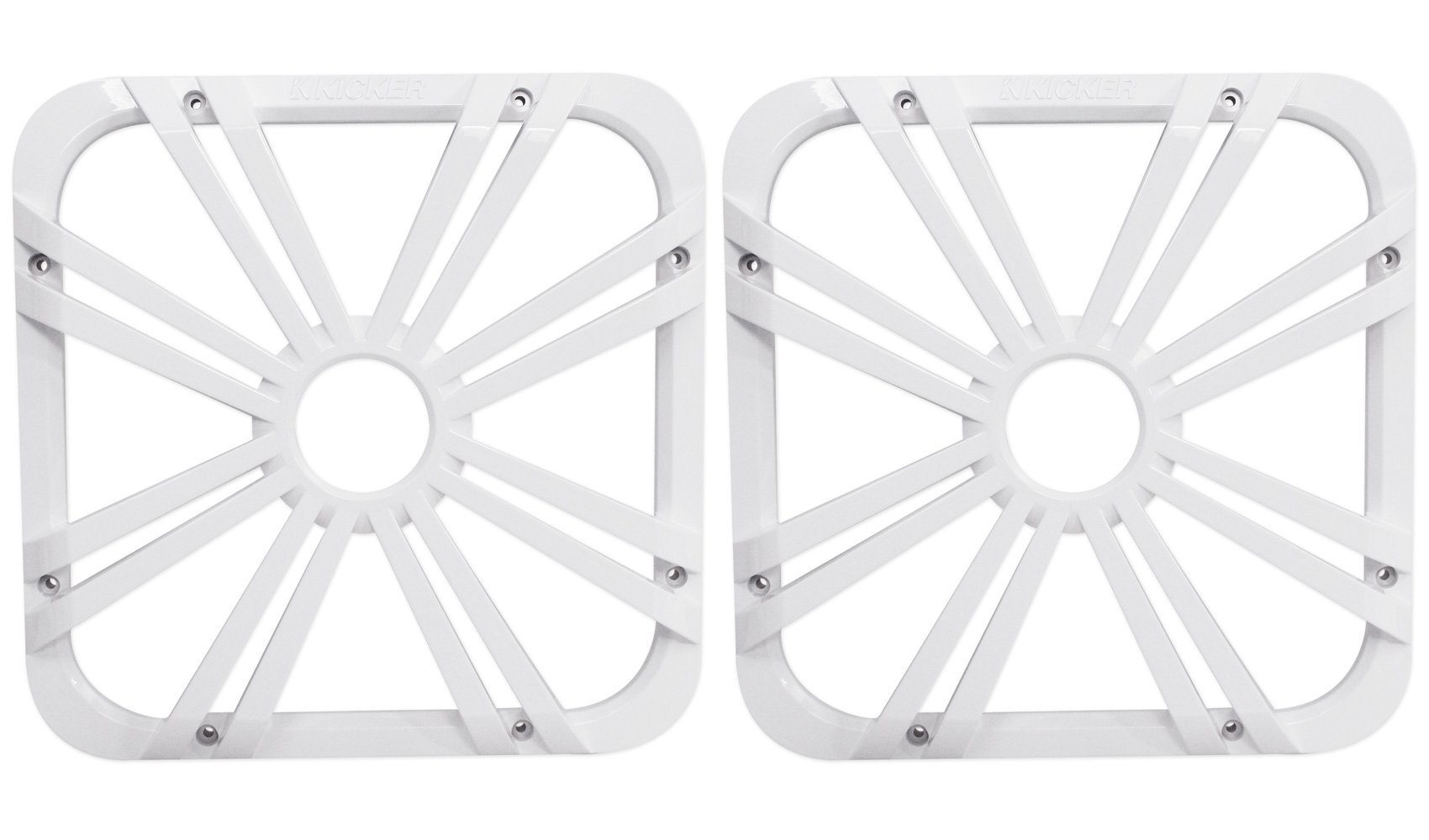 (2) Kicker 11L712GLW 12'' White Grilles With LED Lighting For SoloBaric 11S12L7 Subwoofer