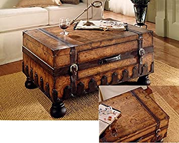 Trunk Coffee Table W Leather Appointments World Map