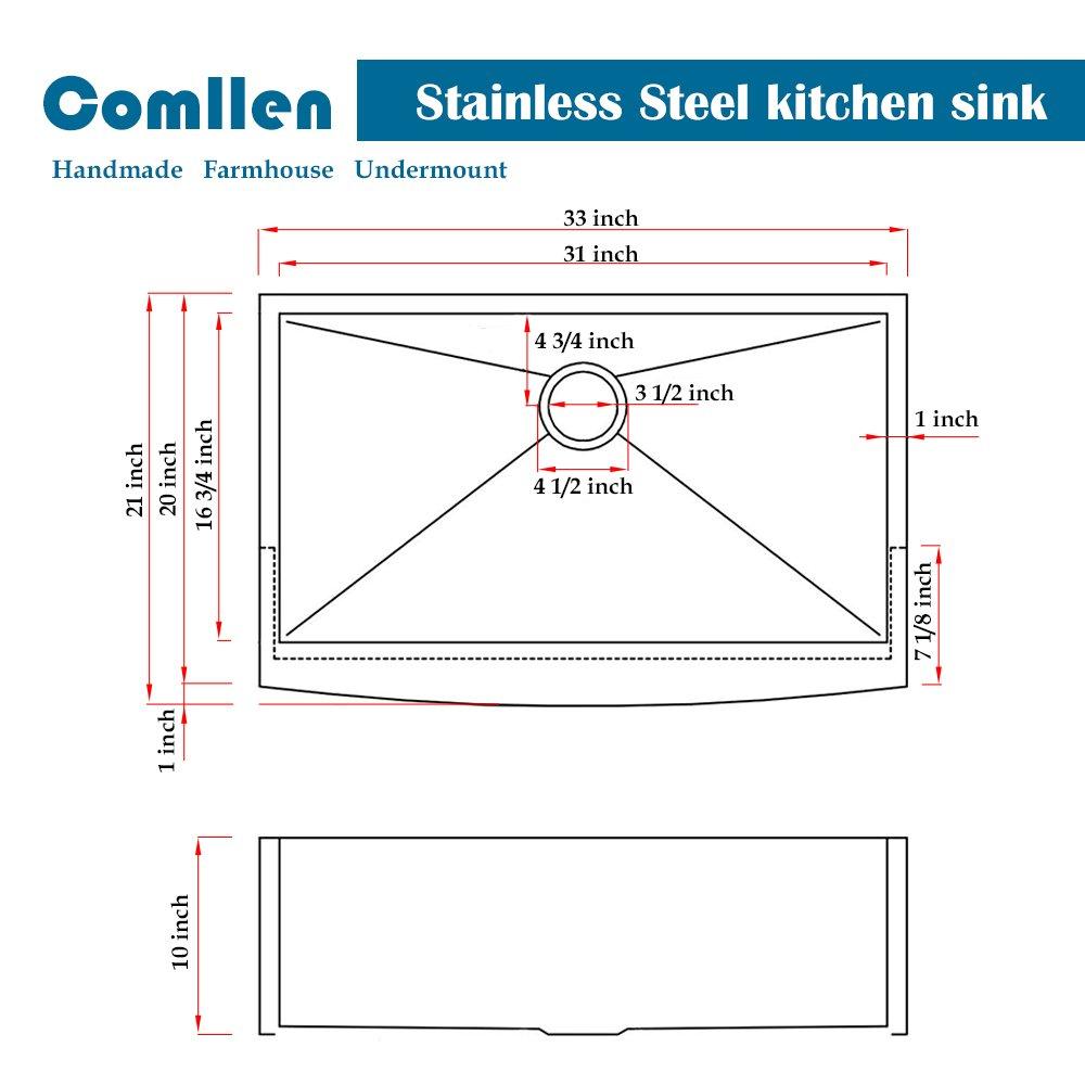 Comllen 33 Inch 304 Stainless Steel Farmhouse Kitchen Sink, Single Bowl 16 Gauge 10 Inch Deep Handmade Undermount Apron Kitchen Sink by Comllen (Image #6)