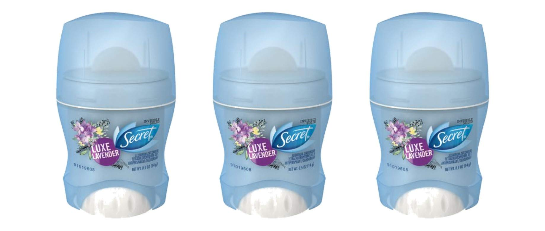 Secret Luxe Lavender Scent Invisible Solid Antiperspirant Deodorant 0.5 Ounce Travel Size (Pack of 3)