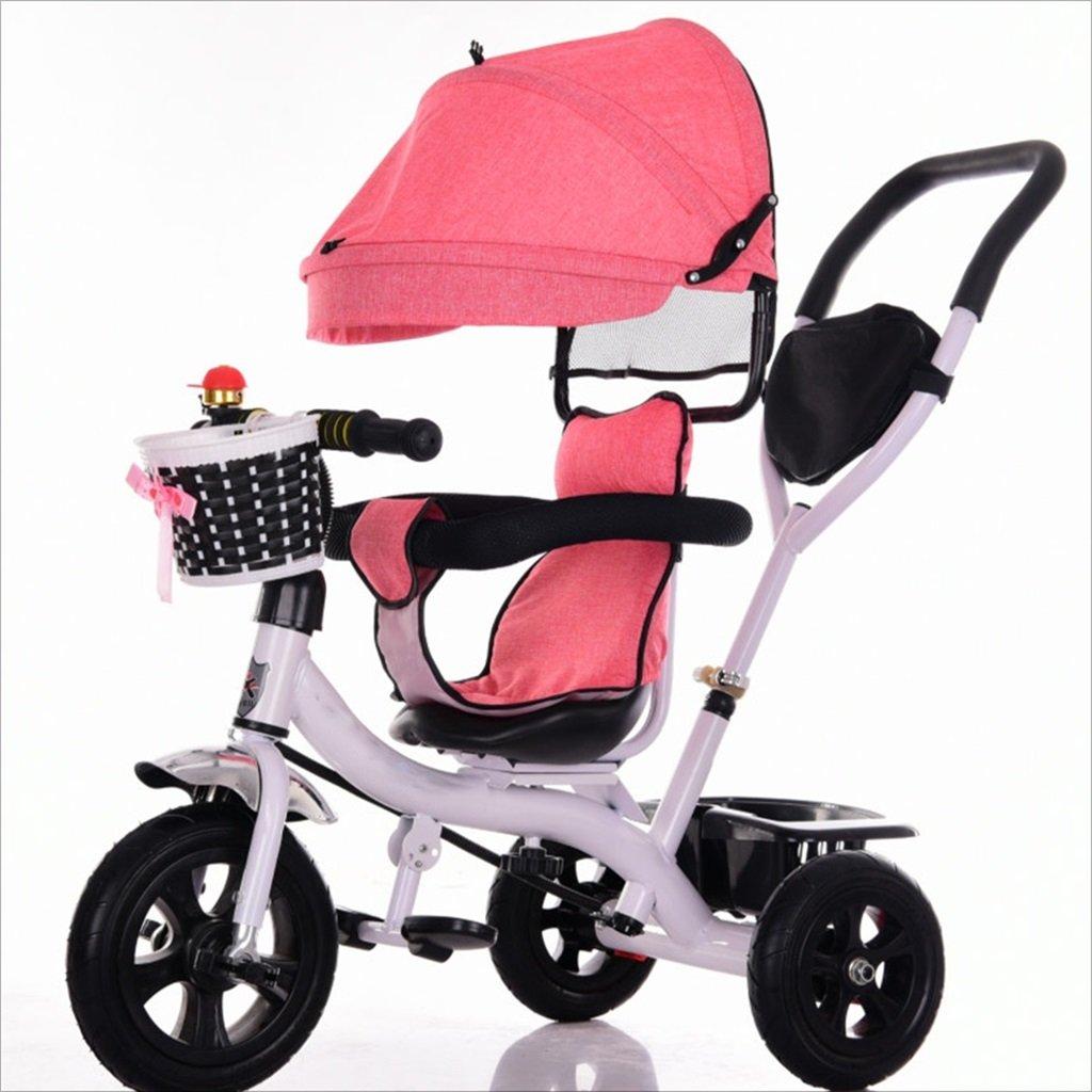 三輪車ベビーキャリッジバイク子供おもちゃトロリーチタンホイール/泡ホイール自転車3ホイール、回転可能な座席(ボーイ/ガール、1-3-5歳) (色 : A) B07DVHR41NA