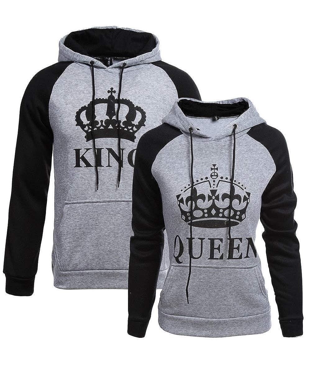 Felpa Uomo Donna Coppia Pullover King Queen Sweatshirt con Cappuccio Maglia Lui e Lei Fidanzati T Shirt Famiglia Coordinate Camicetta Manica Lunga Maglietta Stampa Baggy Jumper Top Hip Hop Streetwear