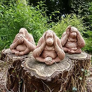 Set de 3monos sabios–Piedra decoraciones de jardín Koi