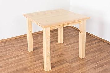 Comedor Mesa 90 x 90 cm, madera de pino maciza, color: natural ...