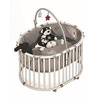 roba Laufgitter 'Rock Star Baby', Laufstall oval, sicheres Spielgitter inkl. Schutzeinlage & Rollen, Baby Krabbelgitter, Holz grau