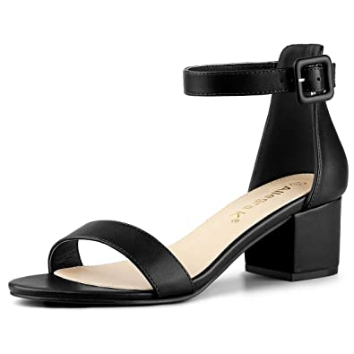 cef40b25253 Allegra K Women's Block Low Heels Ankle Strap Sandals