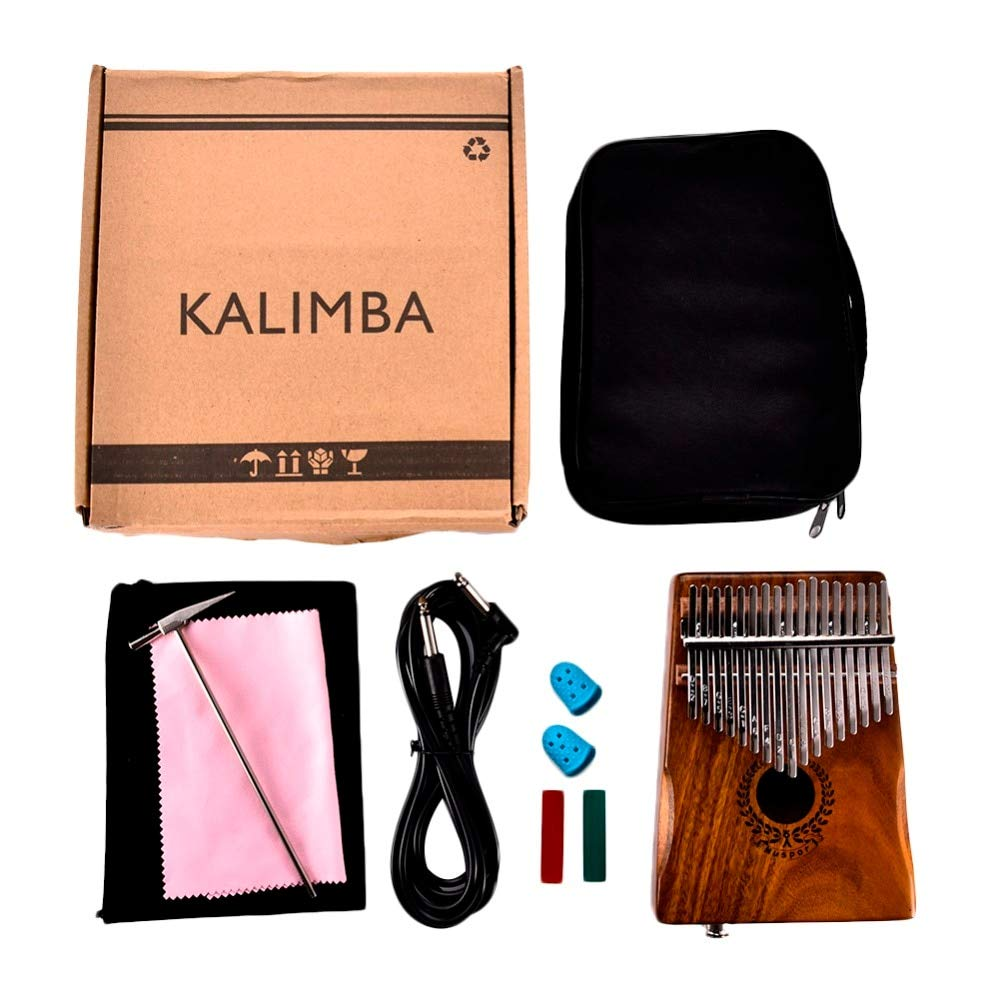 Bowbof - 17 Key Kalimba African Thumb Piano Finger Percussion Keyboard Acacia Wood Music Instruments with Song Book Tuner Hammer