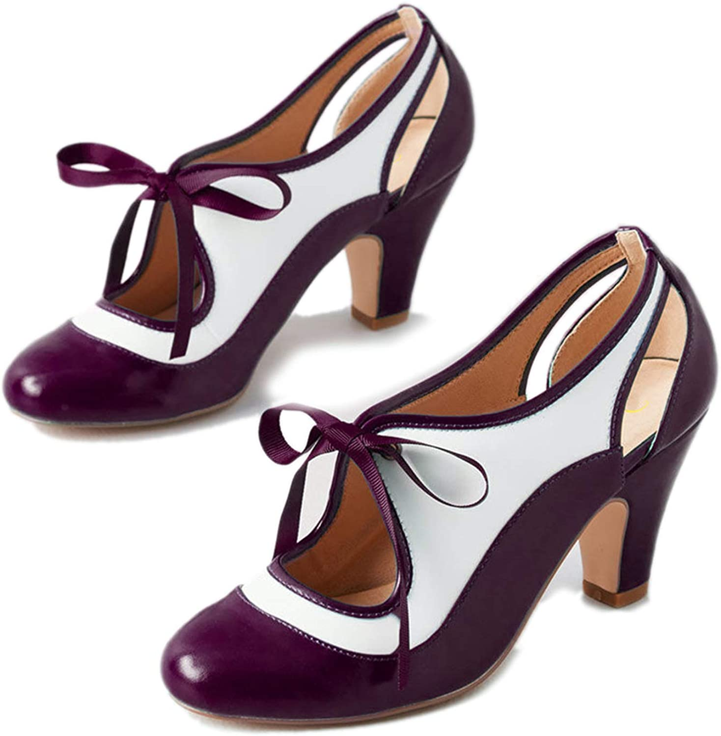 FOWT Round Toe Mid Chunky Heel Bow-Tie Lace Up Mary Jane Pumps for Women, Cut-Out Hollowed Block Heeled Closed Toe Brogue Oxford Shoes Lolita Cute Student Girls 4-16 M US