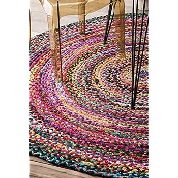 Casual Handmade Braided Cotton Round Area Rug