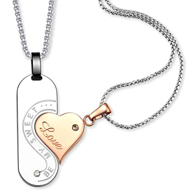 5cabec5be8 LAOYOU Puzzle Couples Necklace Men Women Stainless Steel Love Heart Pendant  Necklaces Couple Jewelry Matching Set