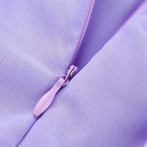Occasionnels Soie V de Femmes Solide Femmes Soie en Mousseline Cou Robe en Longue en V Femme Mousseline Mode col de Robe bohmienne FEIXIANG Robe Soire Purple pour qZ17H