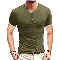 EElabper Camiseta de hombre suave con cuello en V y botón de manga corta para verano, color negro S