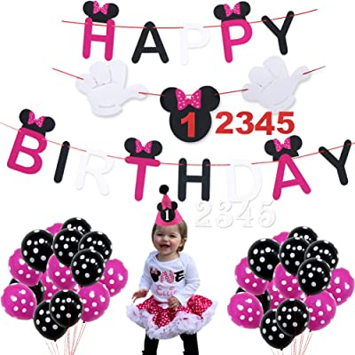 Minnie Mouse Happy Birthday Decorations Pack Cute Baby Hat