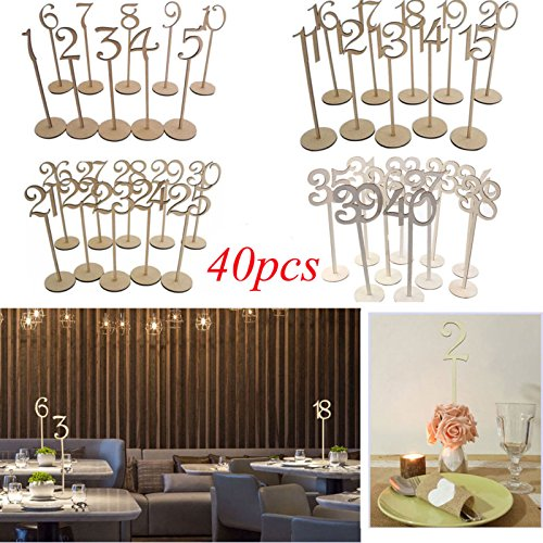 40PCS Wooden MDF Table Numbers 1-40 Stick Set With Base W...