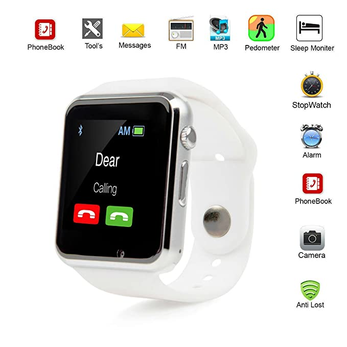 A1 Smart Wrist Watch Bluetooth Waterproof GSM Phone For Android Samsung iPhone Fashion/Smart watch (WHITE)