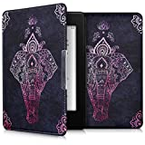 (US) kwmobile Elegant synthetic leather case for the Amazon Kindle Paperwhite Design zentangle elephant in dark pink anthracite