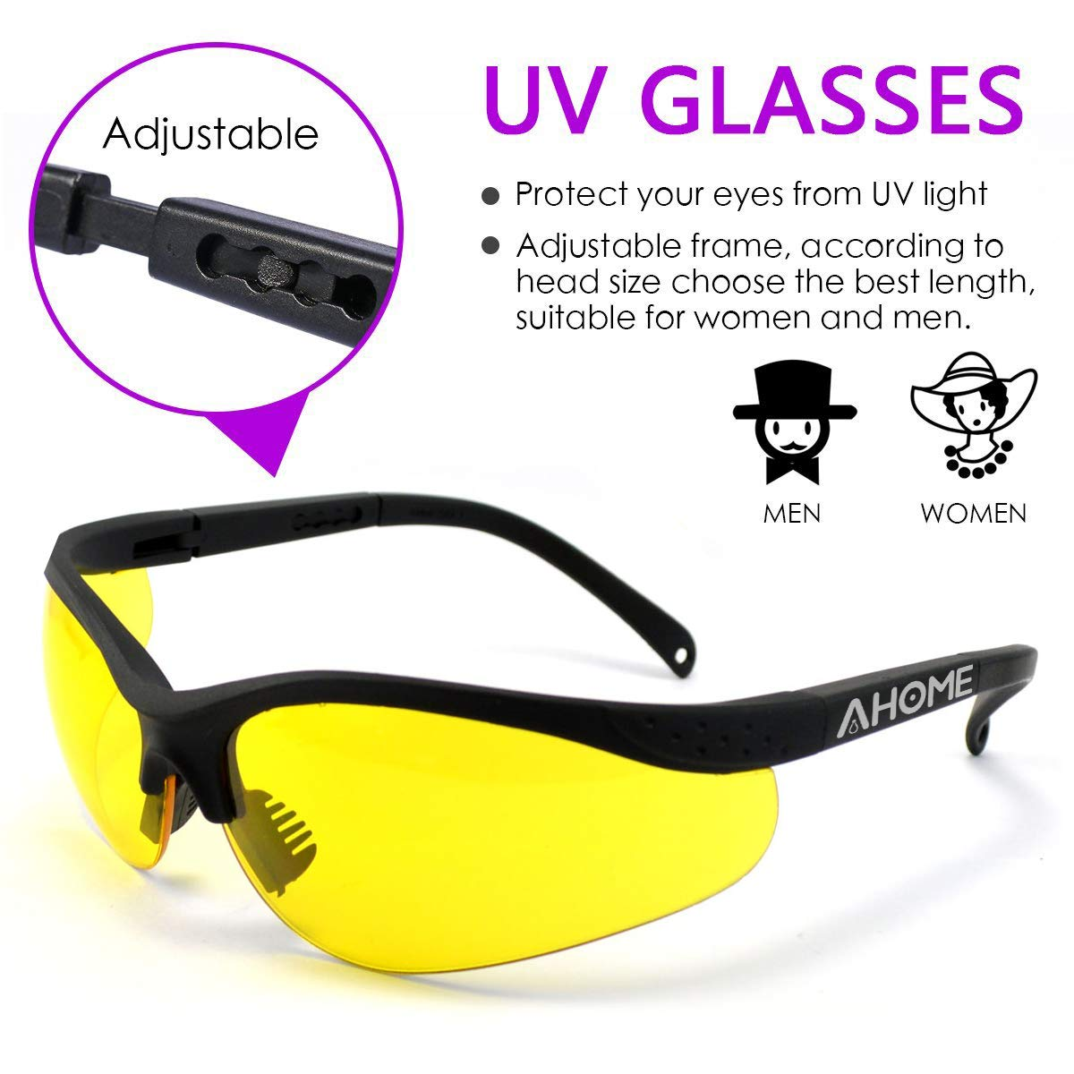 AHOME UV Protection Adjustable Safety Glasses with Protective Carrying Case