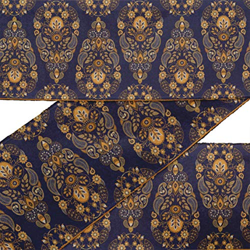 (IBA Indianbeautifulart Brown Leaves,Floral & Paisley Block Printed RibbonTrim9 Yards Velvet Fabric Laces for Crafts Sewing Accessories 3 Inches)