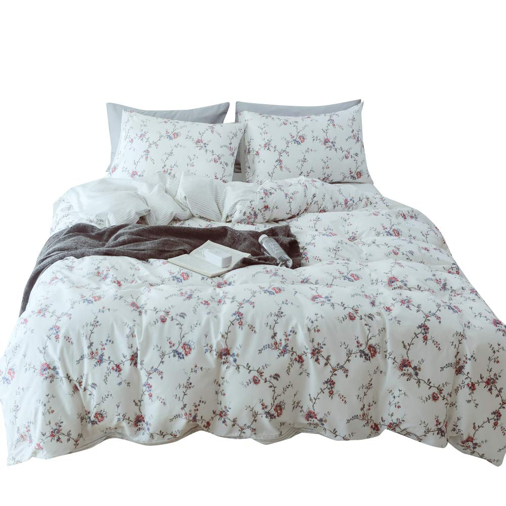 MKXI Flower Branches Duvet Covers White Bedding Set Print Red and Blue Rose Floral Girls Twin Bed Set Cozy Lightweight Cotton Botanical Duvet Cover Set with 2 Pillow Shams